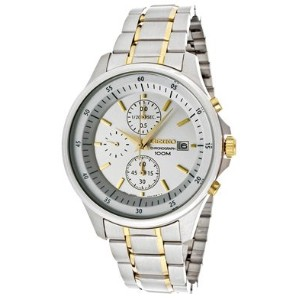 Seiko セイコー メンズ腕時計 Chronograph Silver Dial Two-Tone Stainless Steel Mens Watch SNDE23