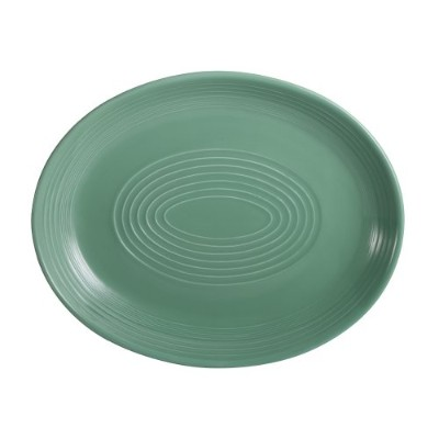 CAC中国タンゴ磁器Coupe Oval Platter 12-3/4-Inch by 10-Inch グリーン TG-14C-G