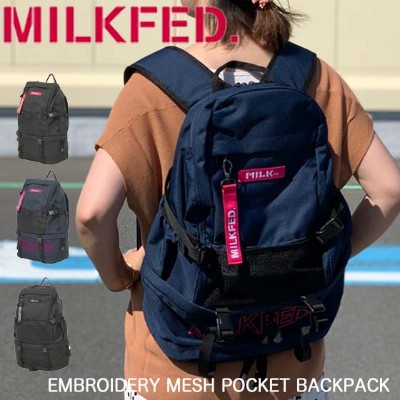 【15%OFF】MILKFED. ミルクフェド リュック 【EMBROIDERY MESH POCKET BACKPACK】 バッグ レディース バックパック 通学 通勤 旅行 大容量...