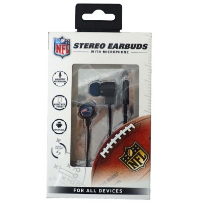NFL ペイトリオッツ Stereo Earbuds with Microphone マイク イヤフォン Mizco