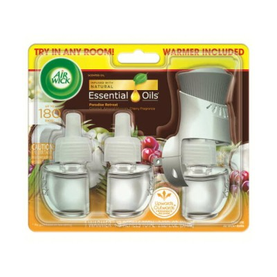 AIR WICK Scented Oil Starter Kit Warmer+3 Refills Paradise Retreat エアーウィック スターターキット 芳香剤 香り アメリカ 本体...