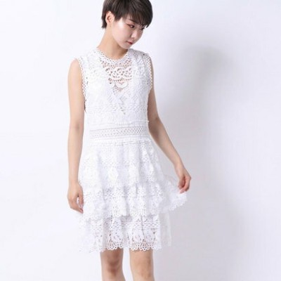 【アウトレット】ゲス GUESS GEN SEE-THROUGH LACE DRESS (TRUE WHITE)