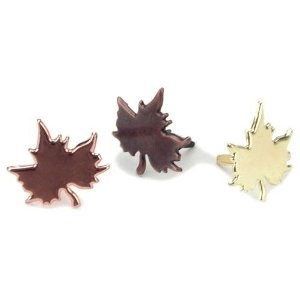 ブラッド(割りピン)Brads : Painted Metal Fastener/Maple Leaves Gold-Copper(1パック約50pcs入り)