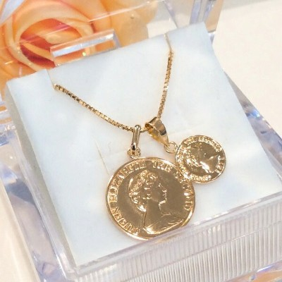 k18 ダブル プレスコイン ネックレス 45cm K18 double presscoin 14mm 8mm necklace slideadjuster