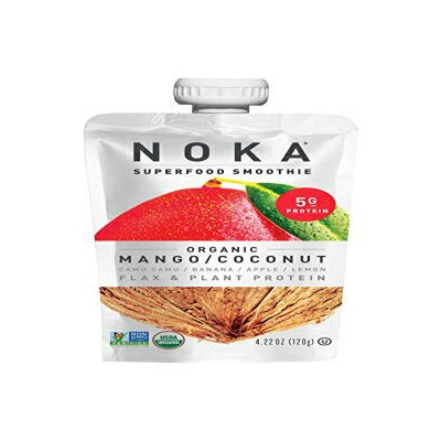 NOKA Superfood Pouches (Mango Coconut) 12 Pack | 100% Organic Fruit And Veggie Smoothie Squeeze...