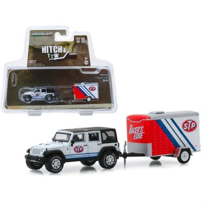 2015 Jeep Wrangler Unlimited and Small Cargo Trailer Hitch and Tow Series 18 1:64 Scale Die-cast...
