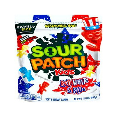 NEW Sour Patch Kids 4th Of July Red White & Blue Candy 1.9 lb. Bag (1)