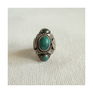 flemington vintage(Women)/フレミントン ヴィンテージ(ヴィンテージ)  1970s turquoise structured silver ring【三越伊勢丹/公式】...