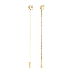 Saint Laurent gold tone opyum monogram earrings - ゴールド