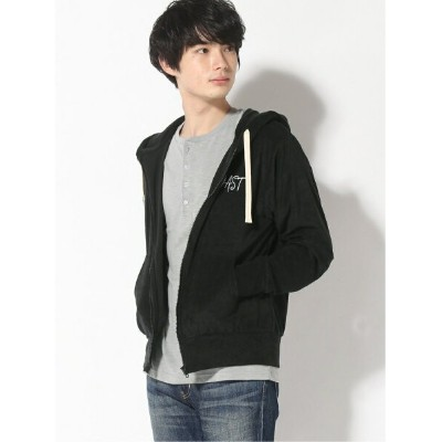 【SALE/20%OFF】realize select realize select/(U)【Bl】パイル プリント ジップパーカー レアリゼ カットソー パーカー ブラック ネイビー