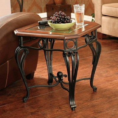 Southern Enterprises Aberdeen Traditional End Table Dark Cherry Metal & Glass 家具 木製 サイドテーブル 【送料無料】...