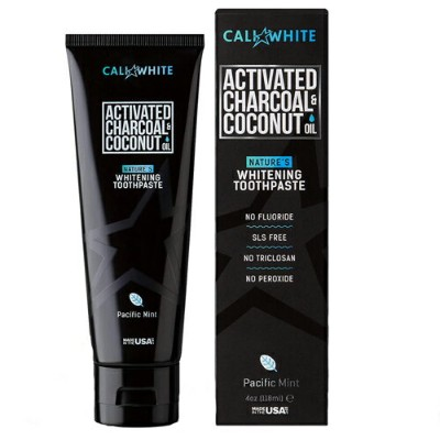 【海外メール便】 Cali White Charcoal & Organic Coconut Teeth Whitening Toothpaste 4.0oz チャコール&オーガニック ココナッツ...