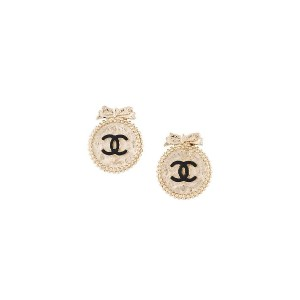 Chanel Pre-Owned ロゴプレート イヤリング - メタリック
