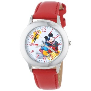 ディズニー 腕時計 キッズ 時計 子供用 ミッキー Disney Kids' W000980 Tween Mickey Stainless Steel Red Leather Strap Watch