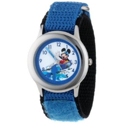 ディズニー 腕時計 キッズ 時計 子供用 ミッキー Disney Kids' W001019 Mickey Stainless Steel Time Teacher Blue Nylon Strap...