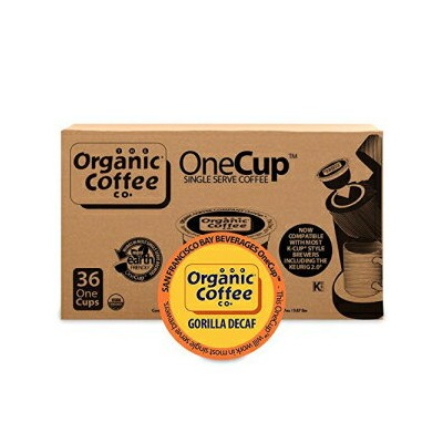 THE ORGANIC COFFEE CO. Organic Coffee Co. OneCup Gorilla DECAF (36 Count) Single Serve Coffee Compatible with Keurig K-cup Brewers USDA Organic Single Serve Coffee Pods, Compatible with Cuisinart, Bunn single serve br
