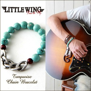 LITTLE WING/天然石ターコイズ&チェーン/ブレスレット