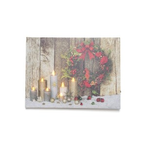 【27%OFF】クリスマスアート Red Wreath 7 Candles M