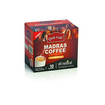 Quik Cafe Unsweetened All Natural Madras Coffee Unsweetened, No Preservatives, No GMO (160 g / 5.64...
