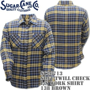Sugar Cane(シュガーケーン)SOFT TWILL CHECK L/S WORK SHIRT Brown SC26713-138