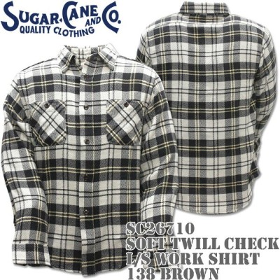 Sugar Cane(シュガーケーン)SOFT TWILL CHECK L/S WORK SHIRT Brown SC26710-138