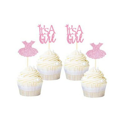Ercadio 24 Pack It's a Girl Cupcake Toppers Pink