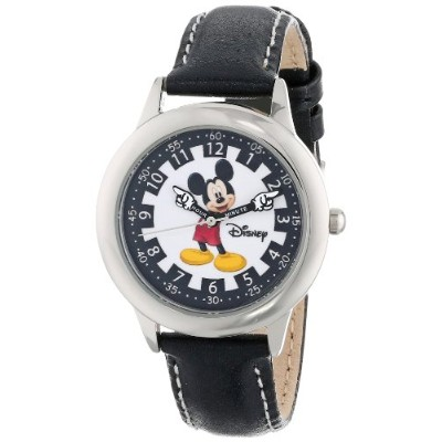 "ディズニー 腕時計 キッズ 時計 子供用 ミッキー Disney Kids' W000243 ""Mickey Mouse"" Stainless Steel Time Teacher Watch..."