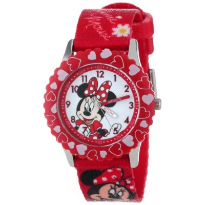 ディズニー 腕時計 キッズ 時計 子供用 ミニー Disney Kids' W001024 Minnie Stainless Steel Printed Bezel Printed Strap...