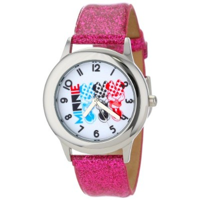 ディズニー 腕時計 キッズ 時計 子供用 ミニー Disney Kids' W000908 Tween Minnie Stainless Steel Pink Glitter Leather...