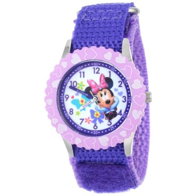 "ディズニー 腕時計 キッズ 時計 子供用 ミニー Disney Kids' W001021 ""Minnie Time Teacher"" Stainless Steel Watch with..."