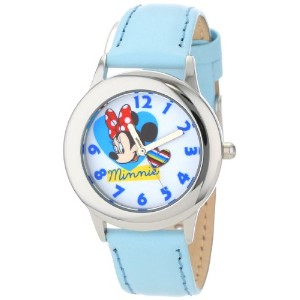 ディズニー 腕時計 キッズ 時計 子供用 ミニー Disney Kids' W000906 Tween Minnie Stainless Steel Blue Leather Strap Watch