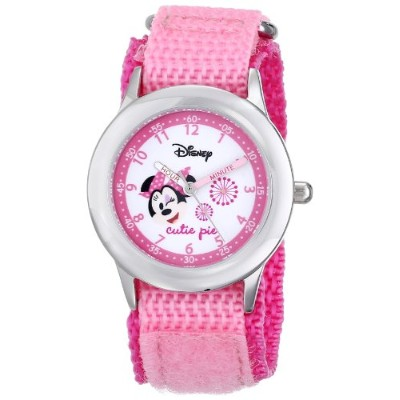 ディズニー 腕時計 キッズ 時計 子供用 ミニー Disney Kids' W000362 Minnie Mouse Stainless Steel Time Teacher Pink Velcro...
