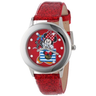 ディズニー 腕時計 キッズ 時計 子供用 ミニー Disney Kids' W000905 Tween Minnie Glitz Stainless Steel Red Glitter...