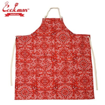 COOKMAN Red Paisely ロングエプロン ペイズリー レッド 赤 総柄 Long Apron クックマン メンズ レディース 男 女 unisex ユニセックス