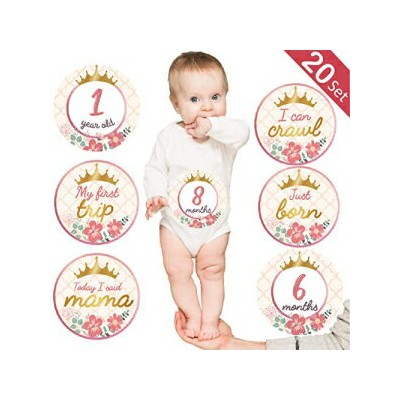 Giftideaworkshop Baby Monthly Milestone Stickers, (Set of 20) Baby Belly Stickers with Crown Rose...