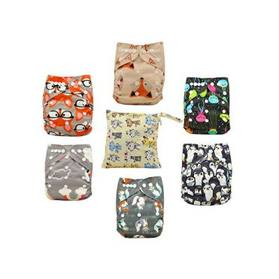 Ohbabyka Reusable Pocket Cloth Diapers Washable Adjustable One Size for Baby Boys and Girls 6PCS,...