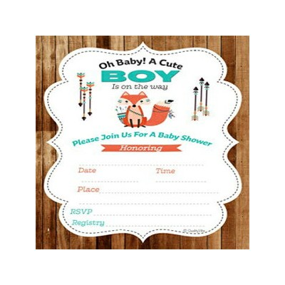 QualityVibe Baby Shower Invitations Woodland, Little Fox for Baby boy Shower. Set of 25 Full Color...