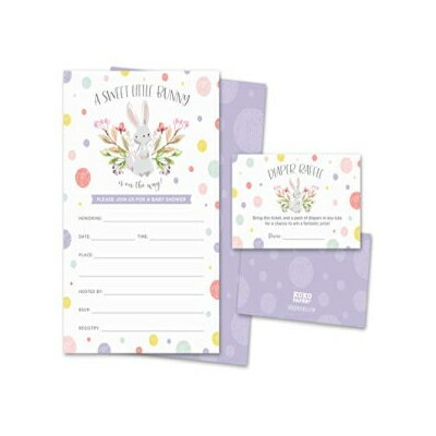Koko Paper Co Sweet Little Bunny Baby Shower Invitations and Diaper Raffle Tickets | Pack of 25...