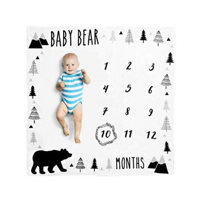 Pondering Pine Organic Baby Monthly Milestone Blanket Boy - Baby Bear Months Photo Blanket with Bib...