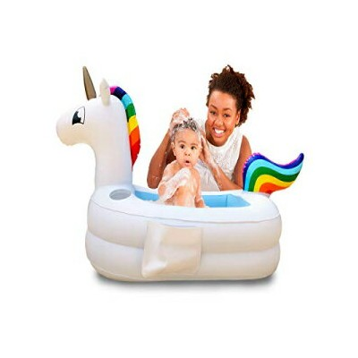 Plur Baby Inflatable Bath Tub and Portable Wash/Rainbow Unicorn for Infants 6-24 Months/Baby Shower...