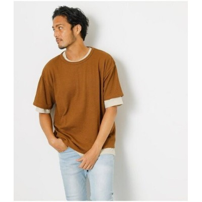 【SALE/57%OFF】AZUL by moussy SURFACE CHANGE LAYERED TEE アズールバイマウジー カットソー Tシャツ ブラウン ピンク【RBA_E】