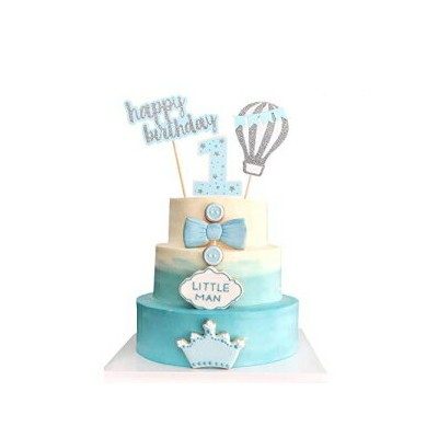 suntop crafts 3pc Hot Air Balloon Cake Toppers 1 Year Happy Birthday Baby Shower Party Decoration...