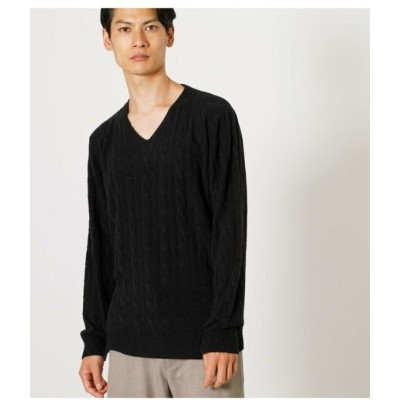 【SALE/50%OFF】AZUL by moussy NUDIE KNIT V/N CABLE PULLOVER アズールバイマウジー ニット ニットその他 ホワイト ブラック ブラウン