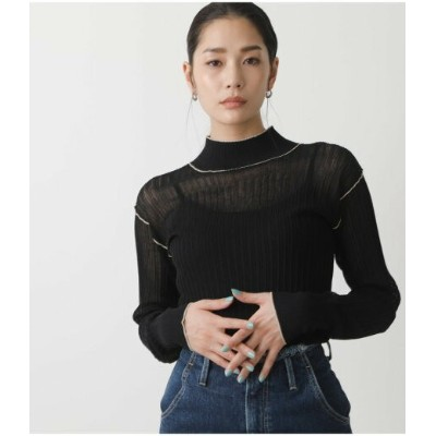 【SALE/50%OFF】AZUL by moussy SHEER COLOR STITCH KNIT TOPS アズールバイマウジー ニット ニットその他 ブラック グリーン