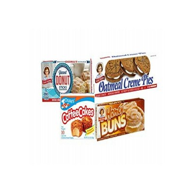 Breakfast Variety Pack: One Box each of Little Debbie Oatmeal Creme Pies, Honey Buns, Donut Sticks...