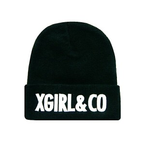 X-girl エックスガール ☆2014新品 EMBROIDERY KNIT CAP 黒 ニット帽