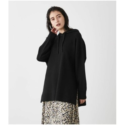 【SALE/50%OFF】AZUL by moussy SIDE SLIT KNIT HOODIE アズールバイマウジー カットソー パーカー ブラック ホワイト ブルー