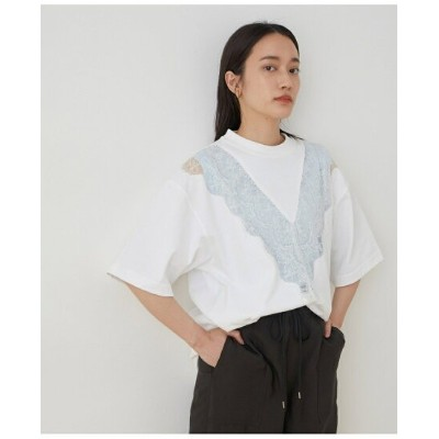 【SALE/50%OFF】ADAM ET ROPE' FEMME 【CAMBER*VIOLETTE ROOM】レースTEE WHITE アダムエロペ カットソー カットソーその他 ホワイト【送料無料】