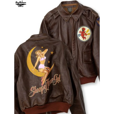 """【BUZZ RICKSON'S】""""384th FIGHTER SQ"""" PATCH & HAND PAINT RED RIB A-2 JACKET 