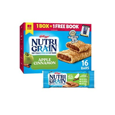 Nutri-Grain Soft Baked Breakfast Bars, Made with Real Fruit and Whole Grains, Kids Snacks, Value Pack, Apple Cinnamon, 20.8oz Box (16 Bars)